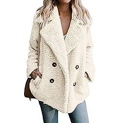Womens Lapel Faux Shearling Coat Jacket Parka Button Up Overcoat Plush Open Front Coat Outwear White