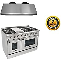 Thor Kitchen 48 6 Burner Gas Range,1200CFM Range Hood