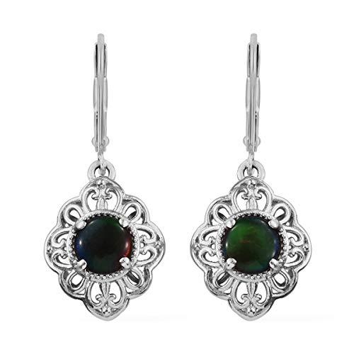 Ammolite Round Earrings - 925 Sterling Silver Platinum Plated Round Ammolite Dangle Drop Earrings for Women Jewelry Gift