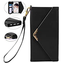 Iphone 6 Wallet Case, Crosspace iphone 6s Envelope Flip Handbag Shell Women Wallet PU Leather Magnetic Folio Cover Cases with Credit Card ID Holders Wrist Strap for Apple Iphone 6/6s 4.7inch-Black