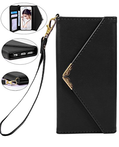 Crosspace iPhone Xs Max Case, iPhone Xs Max Wallet Case,Envelope Flip Handbag Shell Women PU Leather Slim Holster Magnetic Folio Cover with Card Holder Wrist Strap for iPhone Xs Max 6.5-Black