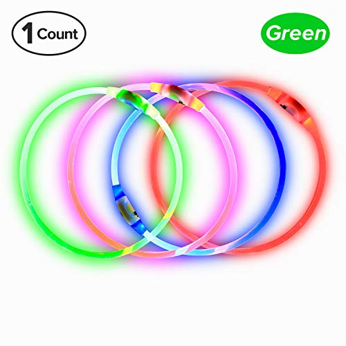 BSeen LED Dog Collar, USB Rechargeable, Glowing Pet Dog Collar for Night Safety, Fashion Light UP Collar for Small Medium Large Dog (Neon Green) ()