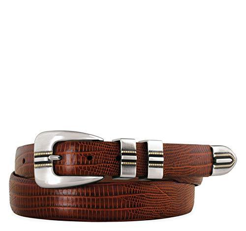 Johnston & Murphy Men's Lizard-Grain Ranger Belt Cognac 34 US (Mens Buckle Johnston Murphy And Belt)