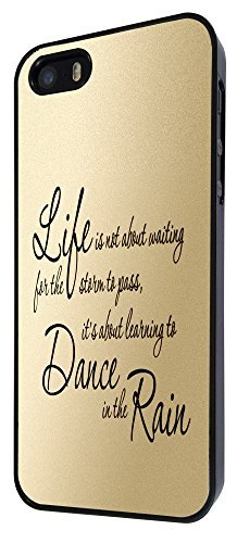 210 - life is not about waiting for the strorm to pass,it's about learning to dance in the rain Design iphone 4 4S Coque Fashion Trend Case Coque Protection Cover plastique et métal - Noir