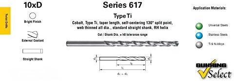Bright Finish External Coolant GUHRING 9006170150800 10xD Series 617 Cobalt Taper Length Drill 19//32 Diameter 130 Degree Split Point