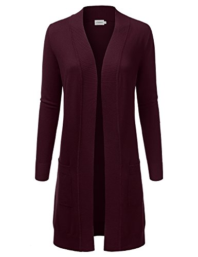 (JJ Perfection Womens Light Weight Long Sleeve Open Front Long Cardigan,Awocal0273_burgundy,Large)