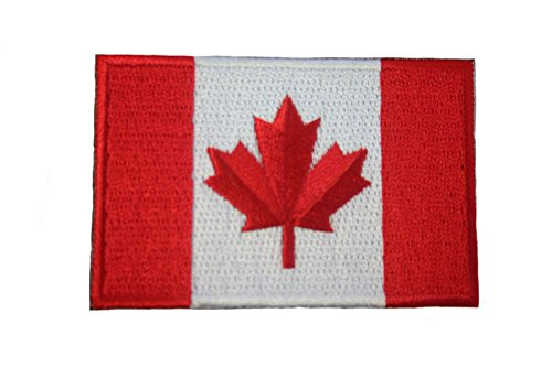 Canada Country Flag Small Iron on Patch Crest Badge ... Canadian .. 1.5 X 2.5 Inches ... New