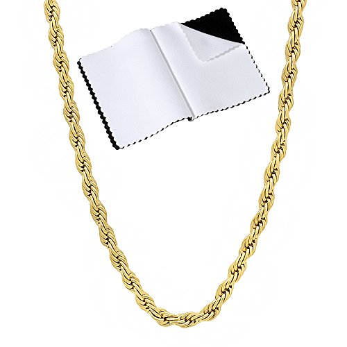 The Bling Factory 3mm 14k Gold Plated French Rope Chain Necklace, 24