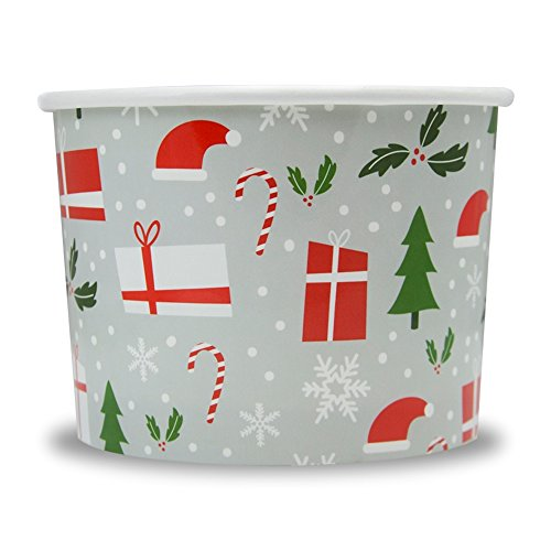 Christmas Themed Paper Dessert Cups - 12 oz Holiday Ice Cream Bowls - Happy Holidays Theme - Frozen Dessert Supplies - Fast Shipping! 50 Count -