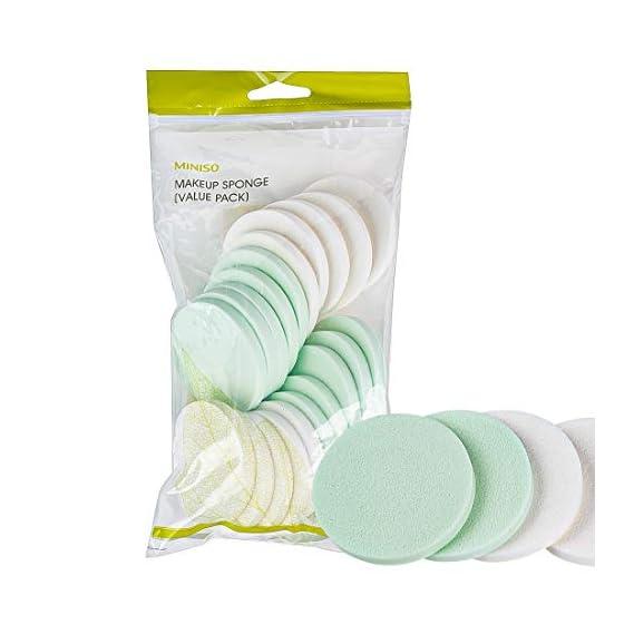 MINISO Round Makeup Powder Puff Blender Sponge (Multicolour) - 20 Pack