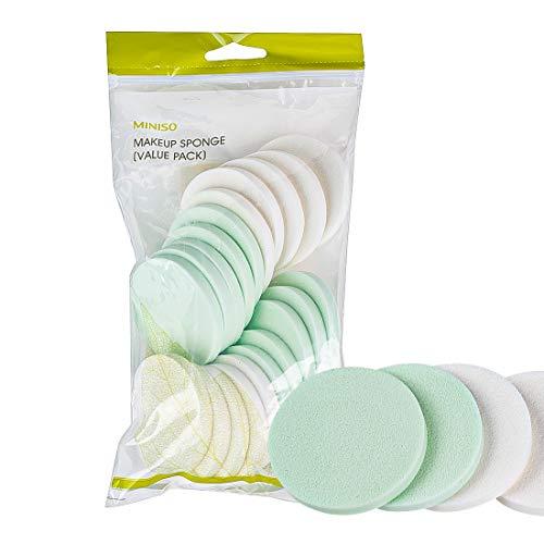 MINISO Round Makeup Powder Puff Blender Sponge (Multicolour) – 20 Pack