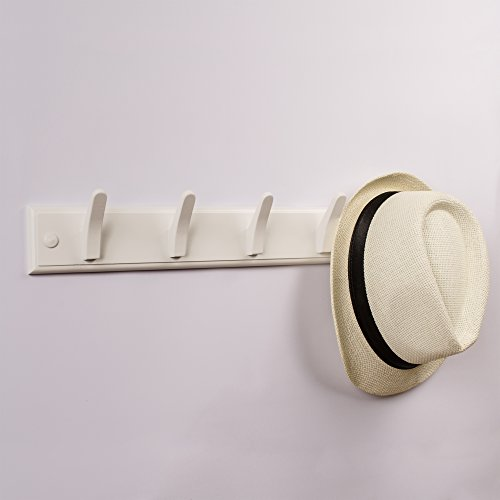 well-wreapped Tibres – Wall Coat Hook Rack – 100% Solid Wood – 5 Decorative Wooden Pegs for Clothes, Hats and Towels – Mounted to a Wall or a Door – For Use in Bedrooms, Bathrooms and Hallways - White