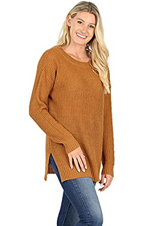 Sweaters for Women Long Sleeve Crewneck Pullover Waffle Knit Side Slit Loose Top -Coffee (1X)
