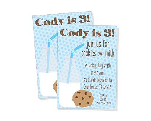 - Milk and Cookies Boy Birthday Party Invitation, Blue Milk and Cookies Party Invite, Milk and Cookies Baby Shower