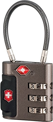 Victorinox Travel Sentry Approved Cable Lock, Grey/Red Logo ()