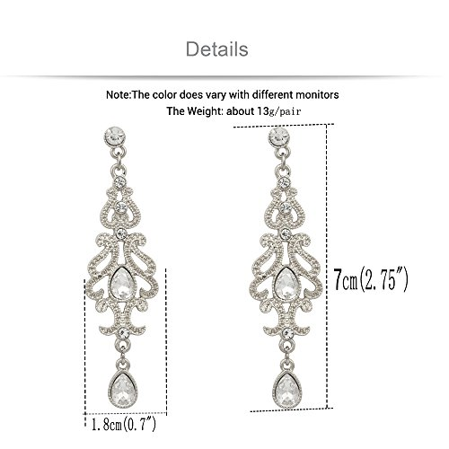 Q&Q Fashion Art Deco 1920s 30s Accessory Flapper Costume Austria Crystal Bridal Silver Dangle Earrings