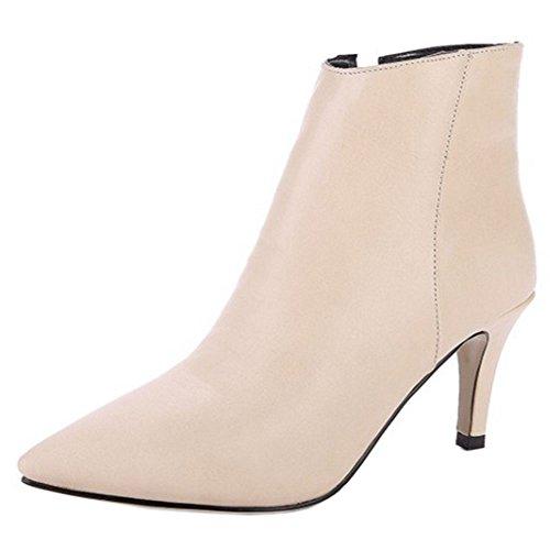 High KemeKiss Ankle Women Classical Boots Zipper Beige Toe Pointed qnwfAtF7x
