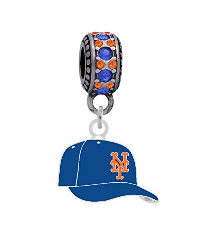 New York Mets Slide - New York Mets Cap Charm with Connector Bead Fits European Style Large Hole Bead Bracelets