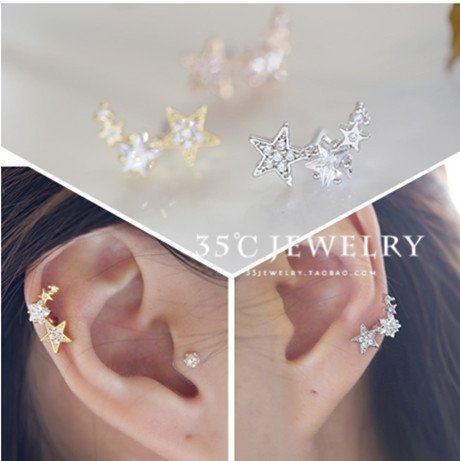 usongs imports steel micro inlay diamond five-pointed star hypoallergenic not fade earrings earrings ear bone nail singles only price ()