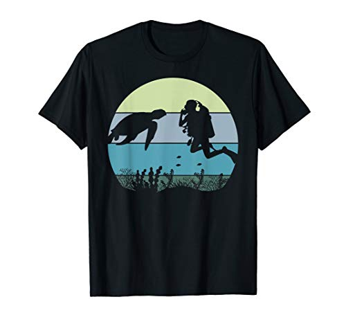 (Scuba Diver Diving and Sea Turtle In The Blue Pacific Ocean T-Shirt)