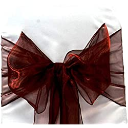 mds Pack of 100 Organza Chair Sashes Bow Sash for Wedding and Events Supplies Party Decoration Chair Cover sash -Burgundy