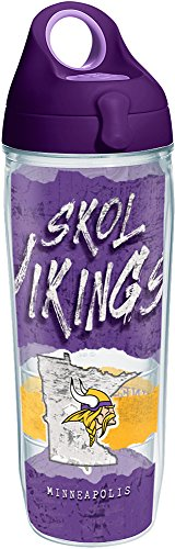 Tervis 1252047 NFL Minnesota Vikings NFL Statement Tumbler with Wrap and Purple Lid 24oz Water Bottle, Clear