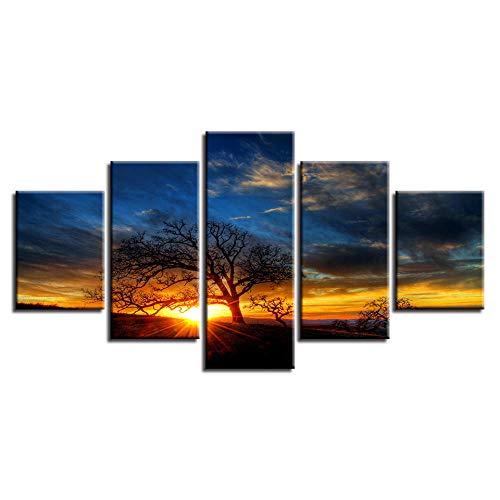hhdoo Cartel de Arte Modular Lienzo Cuadros 5 Unidades Arbol Puesta de Sol Sol Paisaje Pinturas Marco Decoracion Moderna Sala de Estar Pared HD Impresiones en de en AliExpress com |