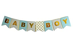 Idiogram BABY BOY Paper Bunting Banner Birthday Party Shower Christening Garland Decoration Favors