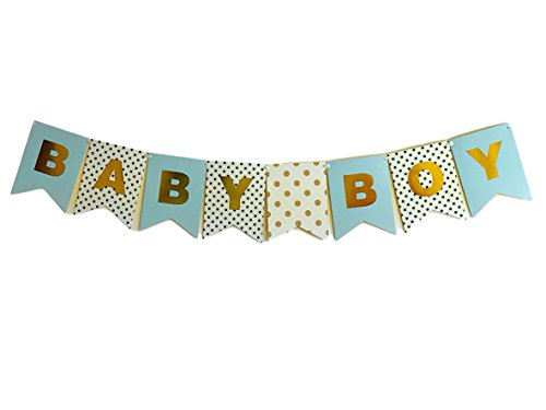 Idiogram BABY BOY Paper Bunting Banner Birthday Party Shower Christening Garland Decoration (Baby Boy Shower Banner)