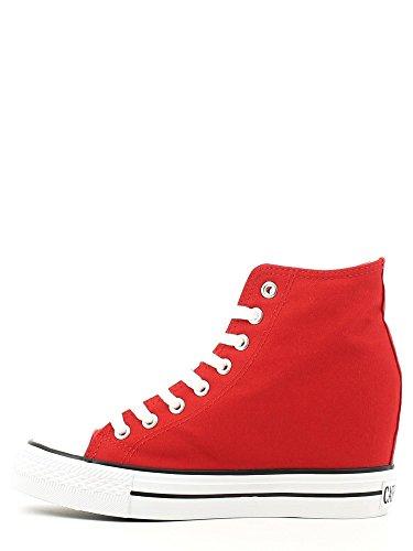 Cafè Noir Sneaker Mujer Canvas alto con cuña Cm 8 Rojo Rojo