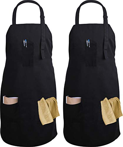 Utopia Kitchen Adjustable Bib Apron with 3 Pockets - Commercial Restaurant and Home Kitchen Apron - Adjustable Neck Strap - Extra Long Ties - Strong Black (2)