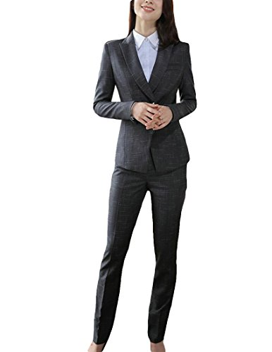 - MFrannie Women Plaid Two Button Long Sleeve Blazer and Skirt Suit Set Gray XXS