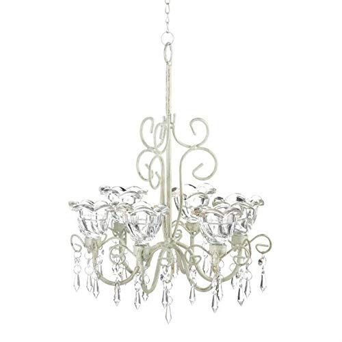Akkapeary Crystal Bloom Candle Chandelier Distressed Ivory 6 Floral Cups Faceted Jewels 10¼'' x 10¼'' x 12¾'' high; 12½'' Long Ivory Painted Metal Home Hotel Restaurant Shop Decor Clear Glass