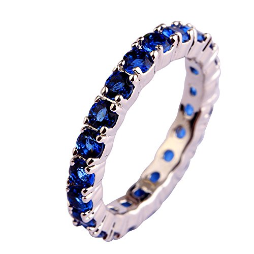 Psiroy 925 Sterling Silver Created Blue Sapphire Filled Eternity Stacking Ring Band (Ring Created Sapphire Lab)