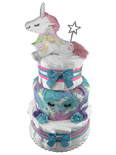 Unicorn 3-Tier Diaper Cake - Baby Shower Gift - Newborn Gift ()
