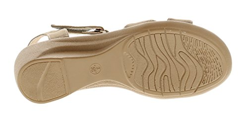Strollers Jasmin Damen Keilabsatz Sandalen Taupe - Taupe - UK Größen 3-8
