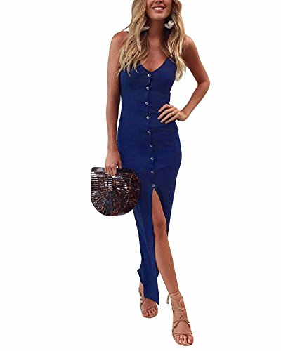 AUTCY Button up Down Front Split Slit Adjustable Strappy Slip Sling V Neck Sleeveless Bodycon Slim Slinky Casual Cocktail Long Maxi Dresses for Women Blue L