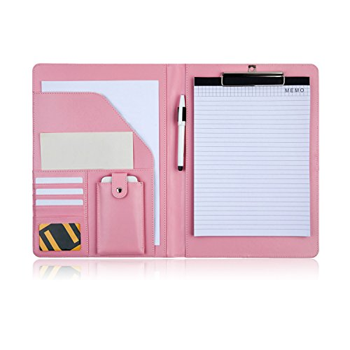 PREMIUMAX Leather Business Padfolio Portfolio Presentation Folder Interview Resume Document Organizer for Women with Bonus Memo Magnetic Closure (Pink)