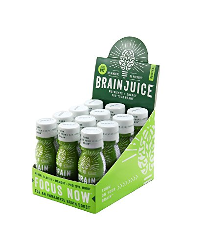 BrainJuice Brain Booster Shot, Original | Liquid Drink for Immediate Nutrients, Energy, and Clarity, with Green Tea Extract Caffeine, Alpha GPC, Non GMO| Pack of 12, 2.5 fl oz (74 ml)