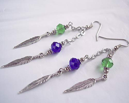 (Seahawks Feather Charm and Crystal Earrings Lime Green and Navy)