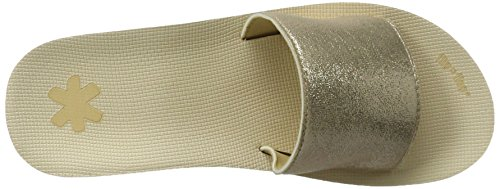 Flip Flop Pool Wedge Metallic, Women's Open Toe Sandals Gold (Gold)