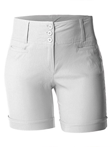aa696f3bdd1a well-wreapped LE3NO Womens Plus Size High Waisted Bermuda Shorts with  Stretch