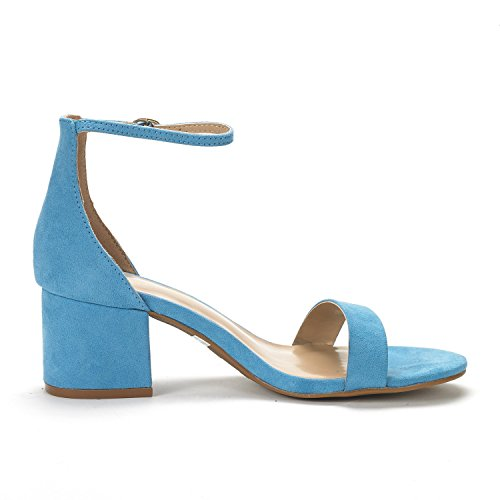 Chunk Blue Women's Heel Low PAIRS Suede Low Ankle Sandals with DREAM Strap Pump qPgtZwxx
