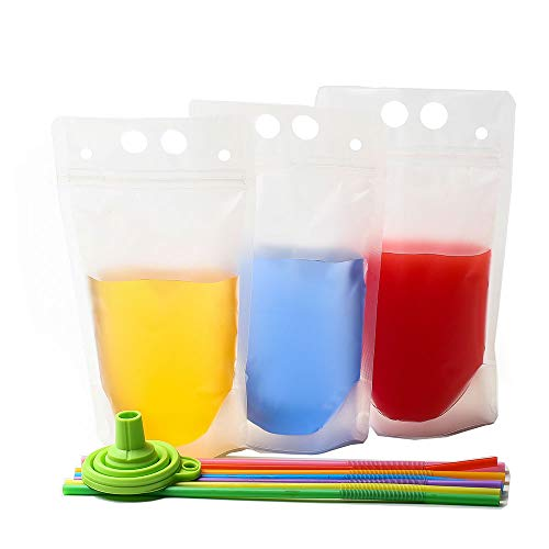 C CRYSTAL LEMON 100PCS Drink Pouches with Straw Smoothie Bags Juice Pouches with 100 Drink Straws, Heavy Duty Hand-Held Translucent Reclosable Ice Drink Pouches Bag