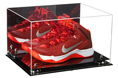 Better Display Cases Acrylic Basketball Shoe Pair Display Case with Silver Risers and Mirror (A082-SR)