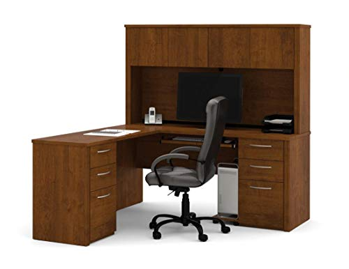 Bestar L-Shaped Desk with Two pedestals and Hutch - Embassy