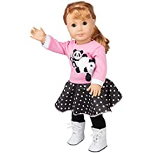 """Panda Poodle Skirt Outfit for American Girl and 18"""" Dolls - Clothes Set Includes Shirt, Skirt, Leggings, Shoes, and Pet Panda"""