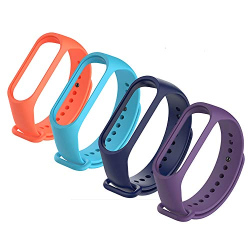 4Pack Compatible Xiaomi Mi Band 3 Bracelet, Silicon Sport Replacement Strap Wristband Accessories Colorful Compatible Mi Band 3 Accessories (4pcs)