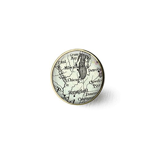 Chicago Great Lakes Vintage Map Brooch - Detroit and Chicago - Milwaukee - Lake Michigan Map Jewelry