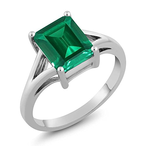 - Gem Stone King Sterling Silver Emerald Cut Green Simulated Emerald Women's Ring 2.30 Cttw (Available 5,6,7,8,9) (Size 8)